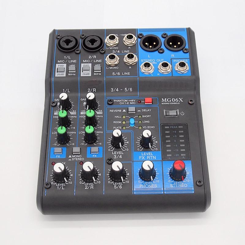 Finlemho DJ Mixer Audio Console MG06 Professional Audio 48V Phantom Power For Power Amplifier Subwoofer Speaker Line Array