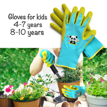 Kids /Junior garden safety rubber coated gloves, DIY, age from year 3 to year 12, nylon knitted with palm natural latex coated nmsafety better grip ultra thin knit latex dip nylon red latex coated work gloves luvas
