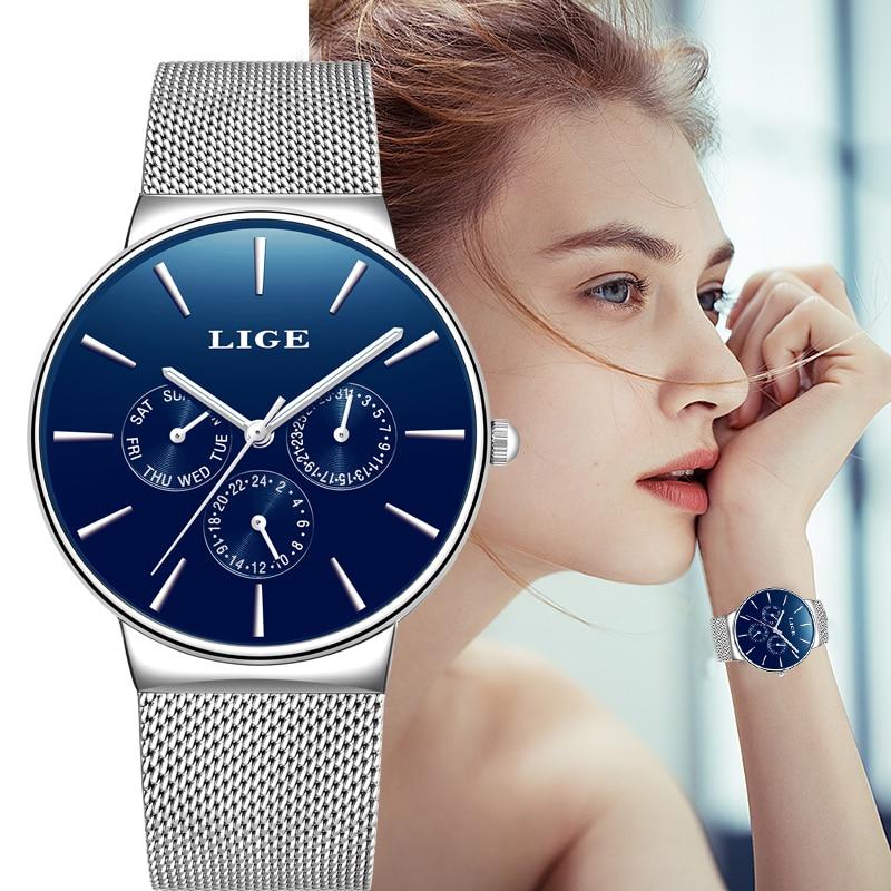 LIGE New Dress Women Watches Fashion Casual Rose Gold Quartz Watch Laides Business Mesh Steel Waterproof Clock Relogio Feminino