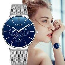 Часы наручные lige женские кварцевые модные повседневные деловые