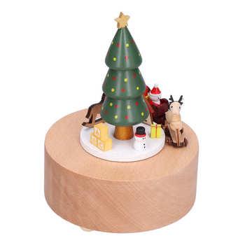 Ślub strona główna stół dekoracyjny dekory sztuczne rośliny drewniana pozytywka choinka Deer Cart pozytywka klasyczna mechaniczna drewniana tanie i dobre opinie CN (pochodzenie)