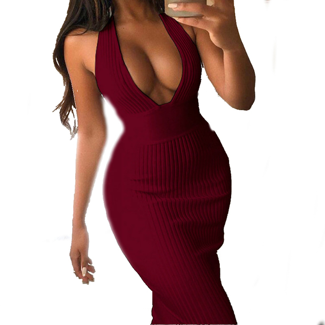 New 2019 Sexy Women Long Dress Halter Deep V-neck Backless Skinny Dresses Sleeveless Side Zipper Lady Partywear Summer PL069G