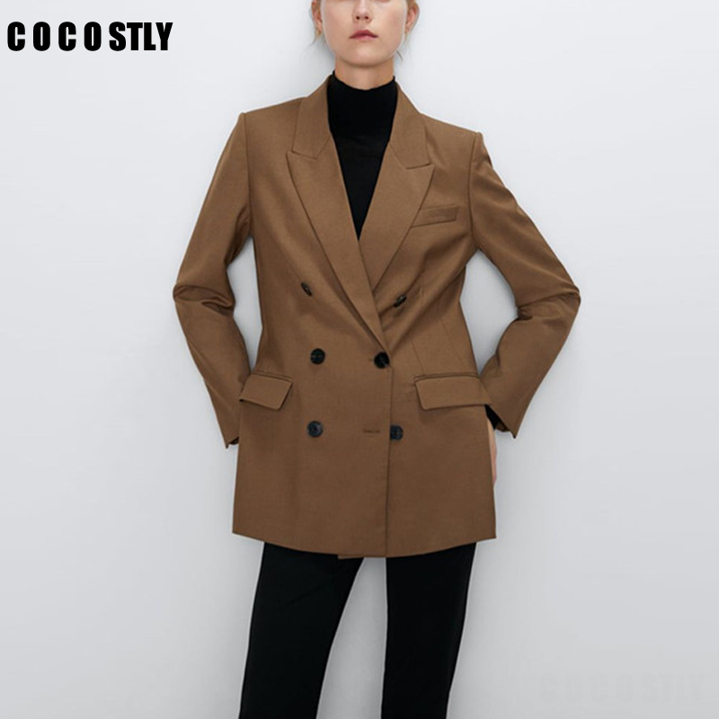 Winter Vintage Blazer Women Chic Double Breasted Elegant Suit Jackets Office Ladies Blazers Coat Female Outwear Tops Mujer