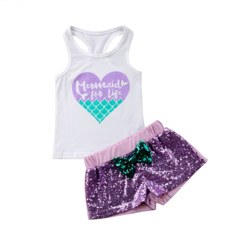 Pudcoco 2PCS Baby Kids Girls Outfits Summer Sleeveless T-shirt Tops+Bowknot Patchwork Shorts Sequins Outfits Sunsuit