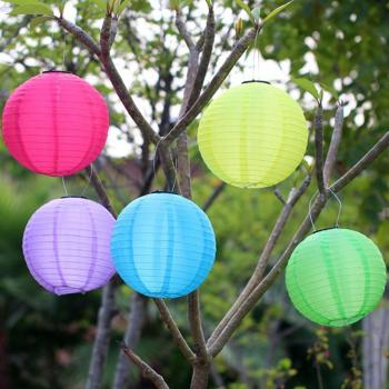 12in Round Chinese Lanterns Waterproof LED Solar Cloth Chinese Lantern Outdoors Festival Wedding Party Garden Hanging Lamp Decor