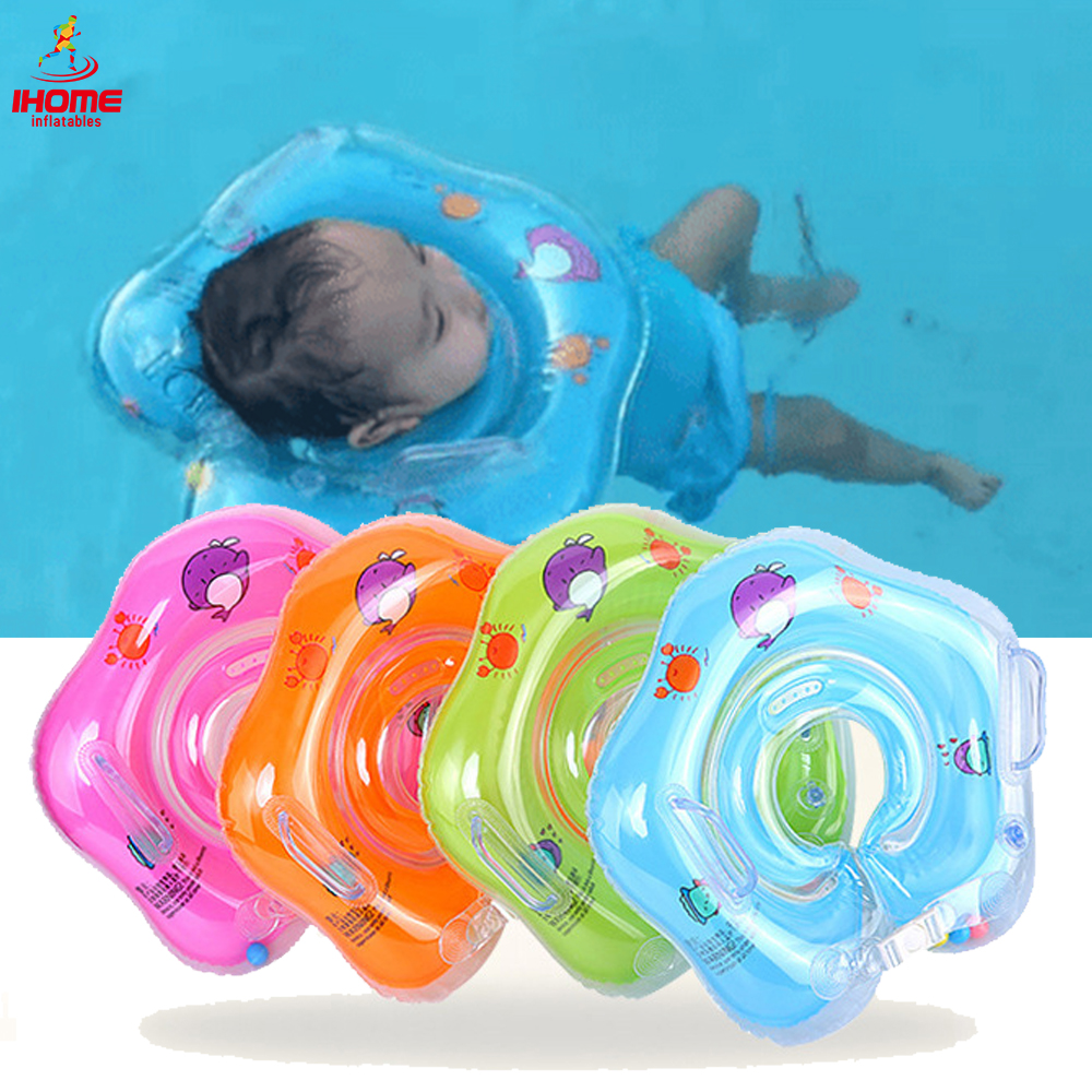 0-18 Months Newborn Neck Ring Inflatable Baby Swimming Circle With Double Airbag Safety Handle Infant Pool Float Bathing Toys