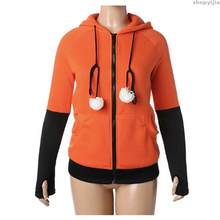 New Plush Ball Decoration Christmas Jackets Outwear Halloween Costumes For Women Anime Fox Ears Orange Hoodie Sweatshirts(China)