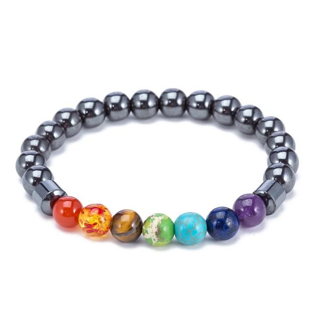 Magnetic Bracelets For Women Weight Loss Round Black Stone Therapy magnet Bracelet Men Health Bracelet Care Hematite Stretch 3