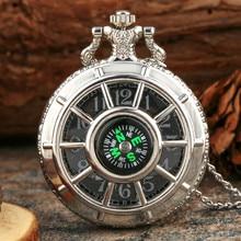 Bronze Vintage Quartz Pocket Watch Chain Necklace Pendant Clock Gift Fashion 40CM Fob Chain Smooth steel Quartz Pocket Watch