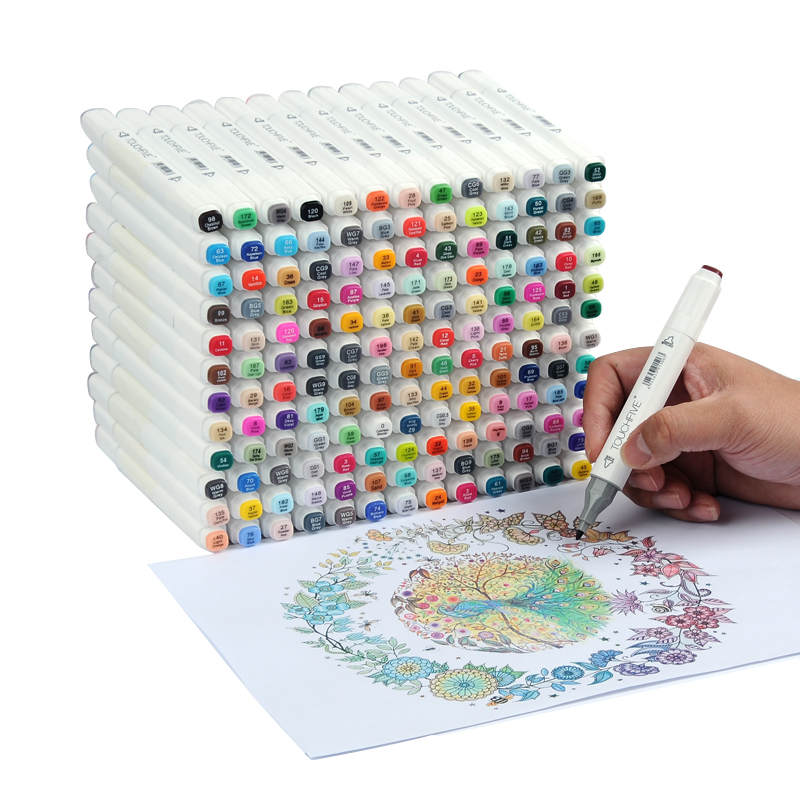 Touchfive 168 ألوان اللوحة الفن علامة القلم الكحول قلم تحديد الكرتون الكتابة على الجدران الفن رسم علامات للمصممين الفن لوازم