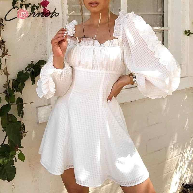 Conmoto Autumn Winter 2019 Party Dress Women Puff Sleeve Sexy Female Vintage Dress Solid Elegant White Ruffles Dresses Vestidos
