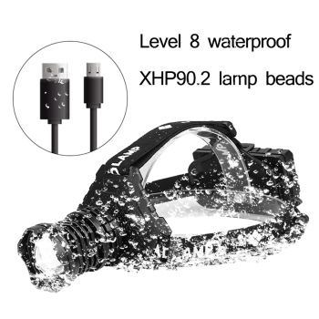 New 90000lm xhp90 2 led head lamp xhp90 high power headlamp torch usb 18650 rechargeable