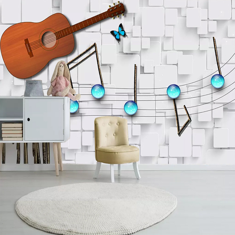 European Style TV Background Wallpaper Modern-Style Living Room Piano Music Decoration Wallpaper Mural Simple Music Notes Guitar