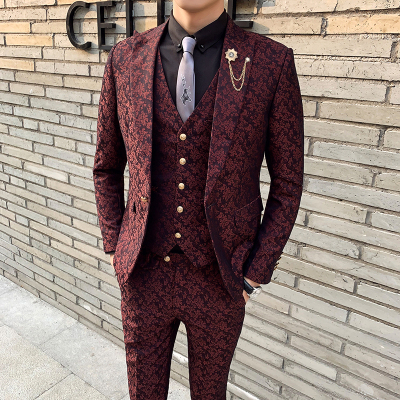3 Pieces Mens Suit With Pants Teros Wedding Prom Suits For Men Red Blue Floral Jacquard Slim Fit Tuxedo 2020 Garnitur Meski