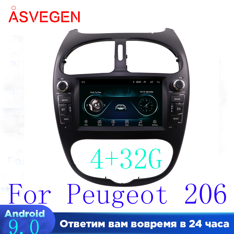 Android 9.0 Car Multimedia Player ForPeugeot 206 Ram 4+32G GPS Navigation Head Unit BT With Touch Screen Car Stereo Player