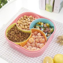 Plastic Square-shaped Flower-shaped Multi Grid Snack Box with Lid Decoration Storage Platter Multicolor Dried Fruit Storage Case