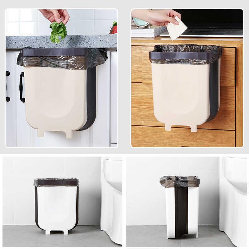 Zoharm cubo de basura para ba/ño cubo de basura plegable para coche Cubo de basura plegable de 4 litros para colgar en la puerta de Kawaii almacenamiento de residuos