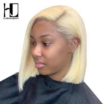 13 #215 6 blond koronkowa peruka na przód brazylijski 1B 613 krótki bob koronki przodu włosów ludzkich peruk dla czarnych kobiet przezroczysta koronkowa peruka na przód tanie i dobre opinie HJ WEAVE BEAUTY Proste Lace Front wigs Remy włosy Ludzki włos Pół maszyny wykonane i pół ręcznie wiązanej Wszystkie kolory