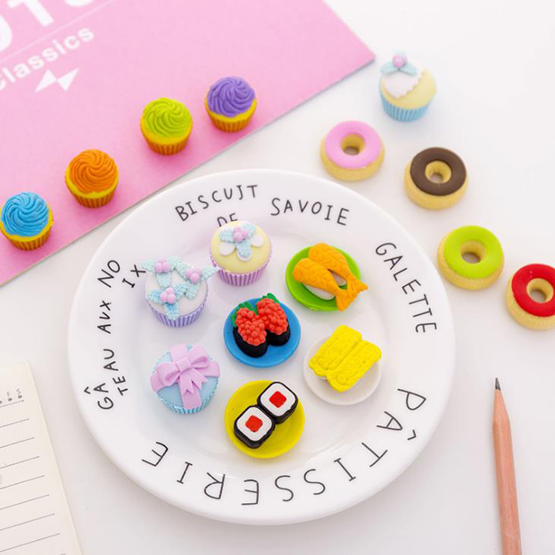 4 Pcs/pack Sushi Cake Donut Rubber Pencil Erasers For Office School Stationery Students Prize Writing Drawing Tools Gift