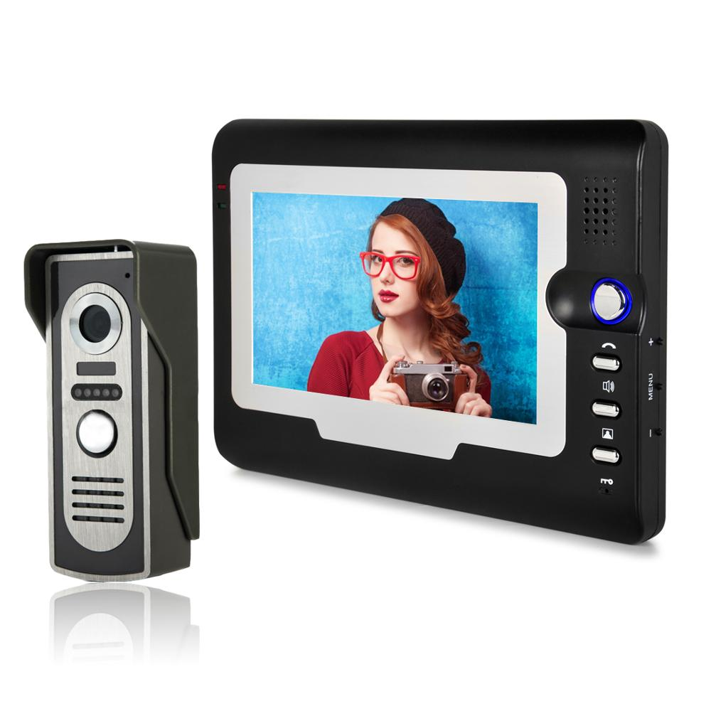 7 Inch Video Door Phone Wried Home Intercom System Waterproof Camera Infared Night Vision