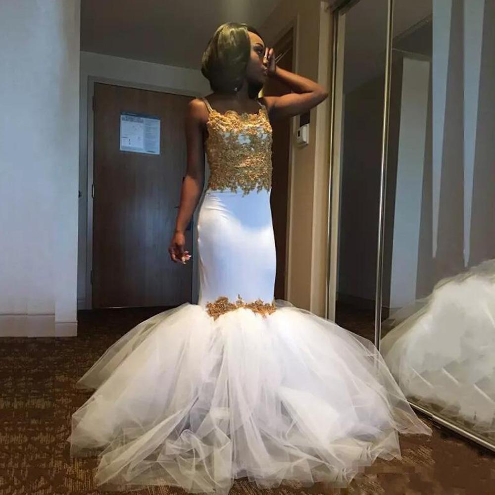 Sexy sirène or blanc robes de bal africaines Tulle jupe bouffante bretelles Spaghetti dentelle Corset robe arabe de festa curto