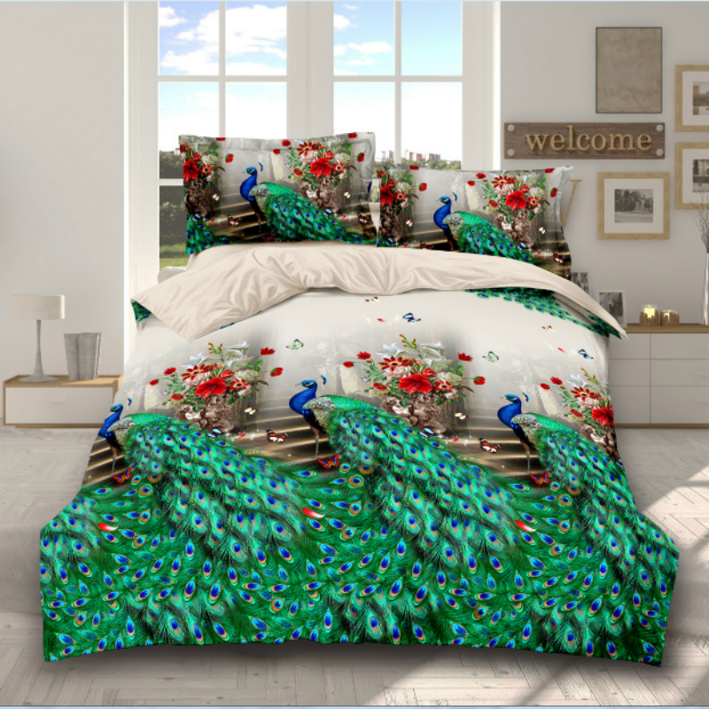 Bedding Set 3D Football Flamingo Peacock pastoral style 4pcs family children's room Duvet Cover Sets Bed Sheet Pillowcase(China)