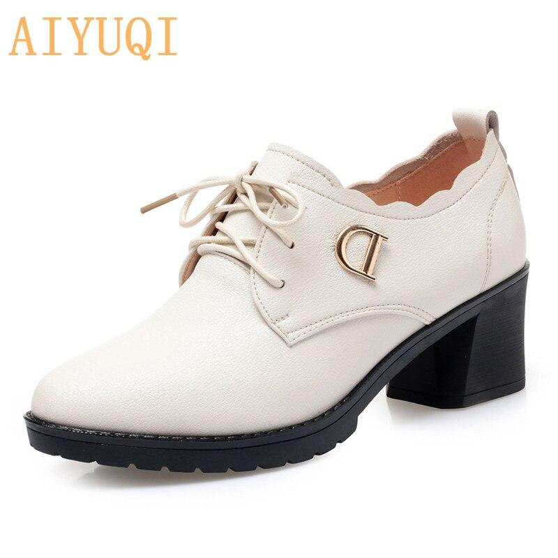 AIYUQI femmes chaussures en cuir véritable 2019 automne nouvelles chaussures à talons mi-hauts femmes d'affaires robe chaussures grande taille 41 42 43 chaussures de bureau
