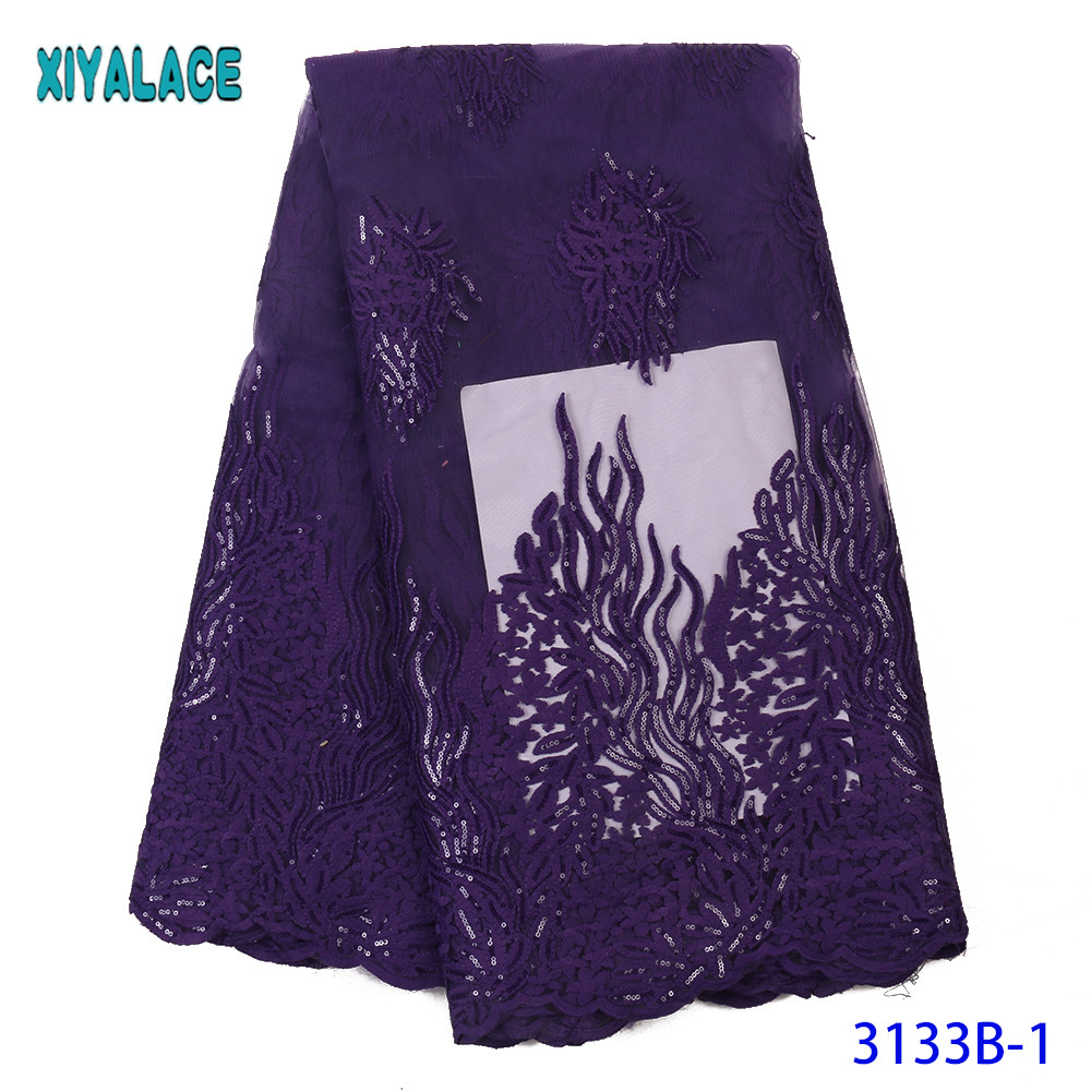 French Tulle Lace Fabric High Quality Nigeria Lace Purple Lace Fabric New Embroidered Laces With Sequins KS3133B