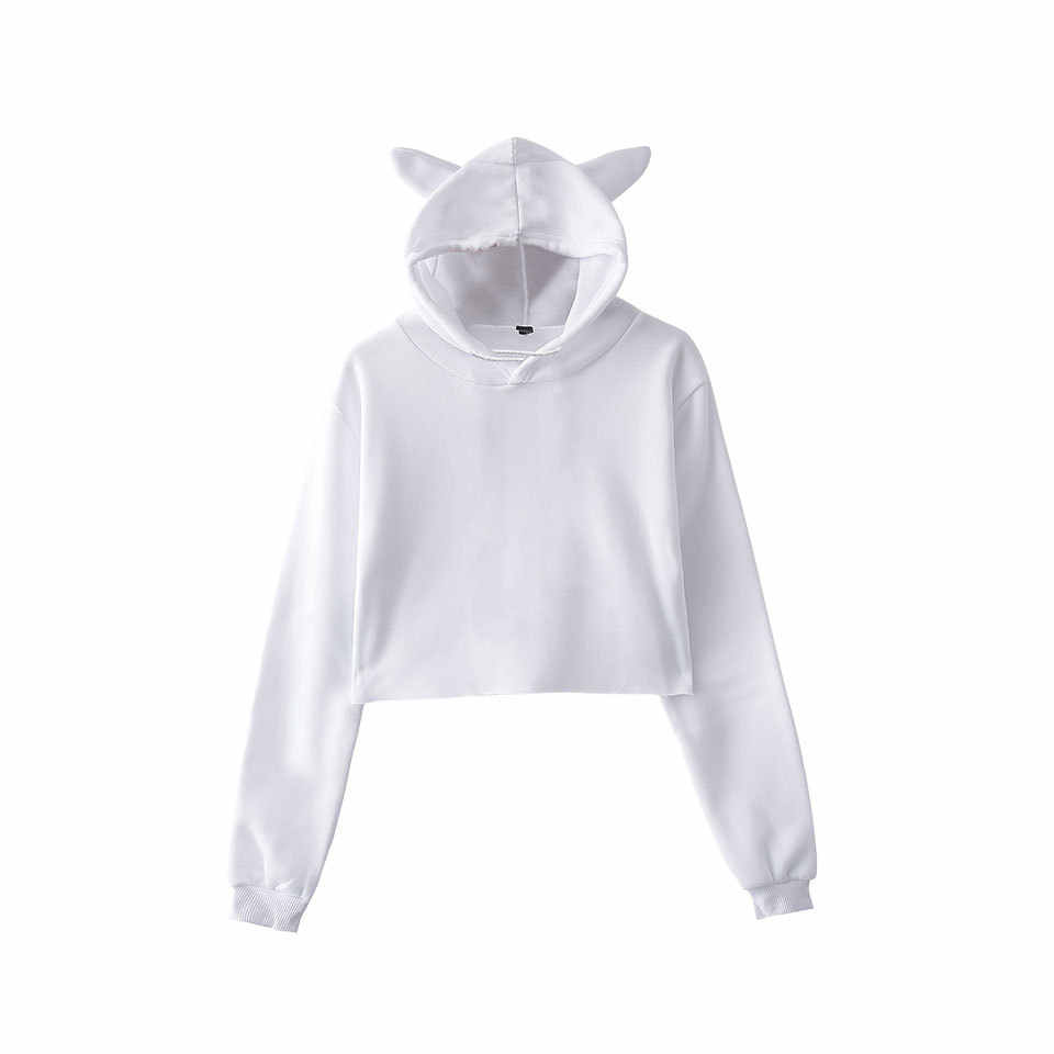 2020 Frauen Fashion Hoodies Sweatshirt Frauen Nette Katze Ohr Hoody Casual Cropped Pullover Tops