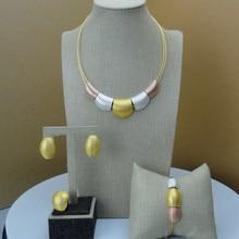 Yuminglai 2019 Dubai Color oro colgante joyería conjunto nigeriano accesorios de mujer conjunto de joyas africanas de moda FHK6860