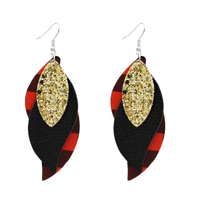 Boucles doreilles goutte en cuir véritable imprimé léopard pour femmes boucle doreille en cuir goutte goutte motif léopard Caramel.