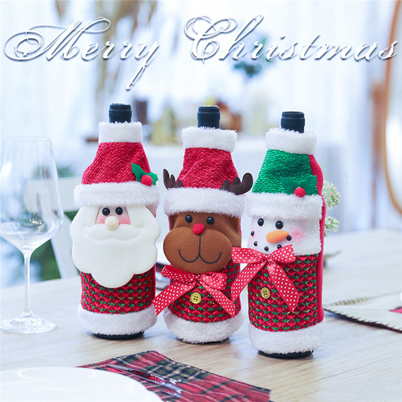 Amicable Christmas Wine Bottle Set Nordic Flower Plaid Fabric Christmas Decoration Wine Bottle Cover Christmas Gift Decoration Moderate Cost