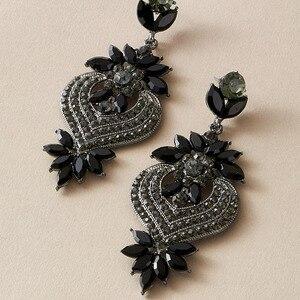docona Luxury Black Crystal Drop Earrings for Women Temperament Love Heart Zircon Dangle Earrings Female Party Fashion Jewelry