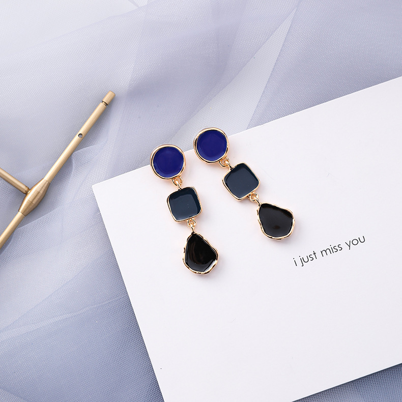 Hec2d2f51b004472b933a9f19a7a8a5fdZ - Summer Blue Geometric Acrylic Irregular Hollow Circle Round Square Drop Earrings for Women Metal Bump Party Beach Jewelry