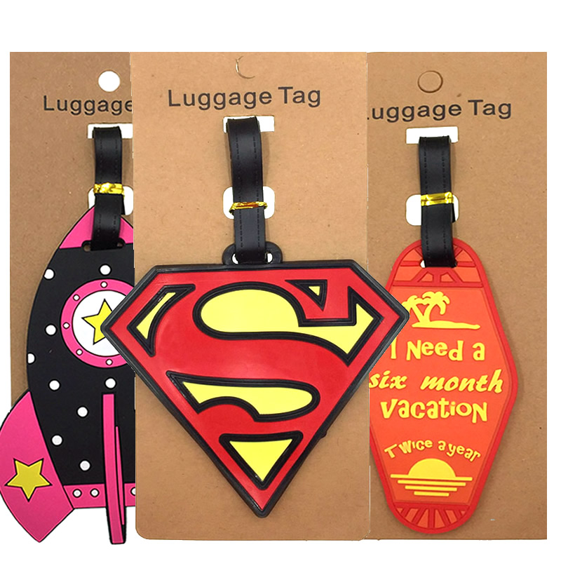 Fashion Rocket Letter Luggage Tags Label Suitcase ID Addres Portable Travel Accessories Holder Silica Gel Women Baggage Boarding