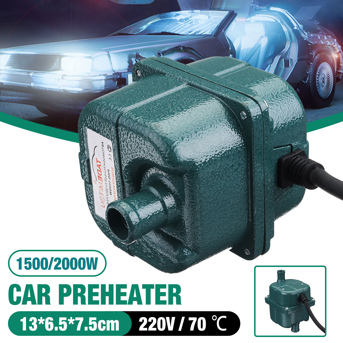 220V 1000W/1500W/2000W Auto Car Engine Pump Water Tank Air Cooled Engine Heater Preheater Heating & Fans     - title=