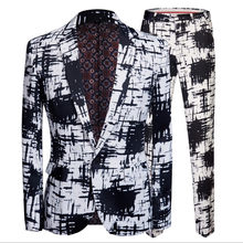 Men Ink Print Suit Blazer Set Dyeing Black White Slim Jacket With Pants Gala Banquet Rockabilly Dress Coat One Button Outfit(China)