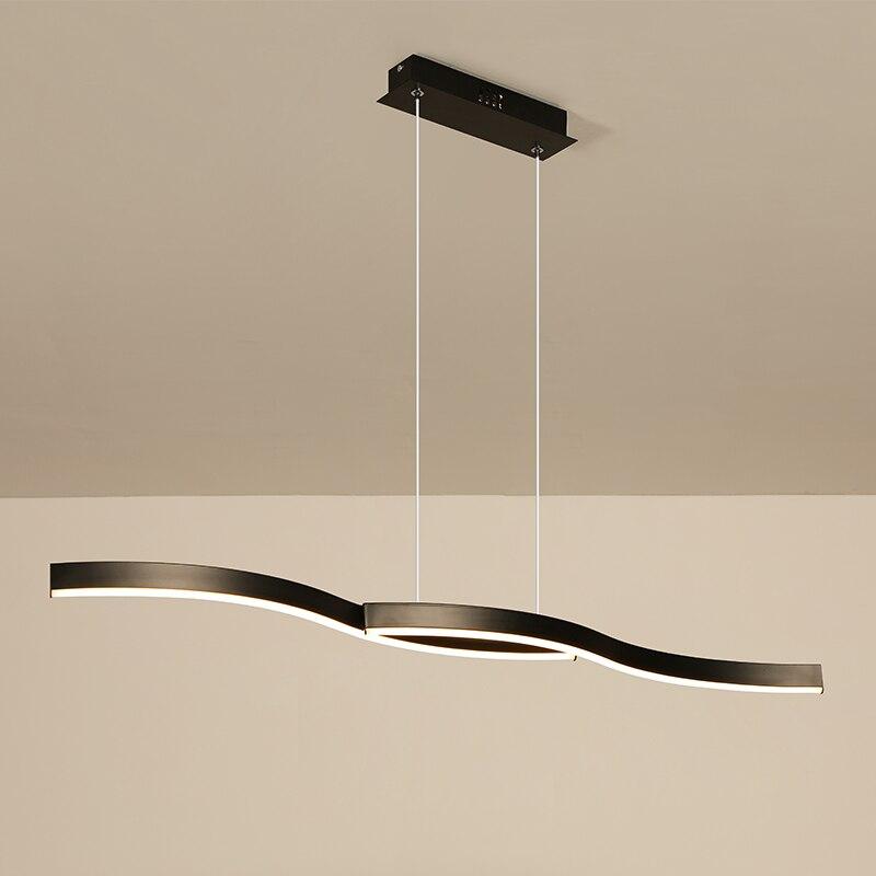 Minimalisme moderne pendentif led lumières pour salle à manger cuisine noir/blanc en aluminium suspension luminaire lustre led