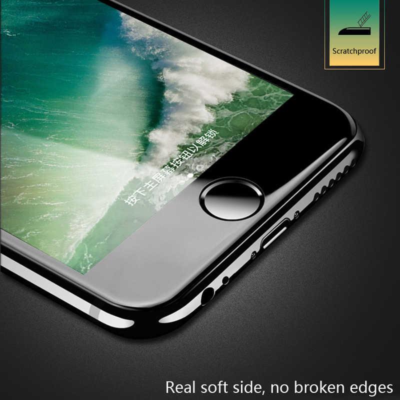9D Tepi Melengkung Penuh Cover Tempered Glass Di UNTUK iPhone 7 6 6S 7 Plus SE Kaca X xr X 11 Pro Max Layar Film Pelindung Case