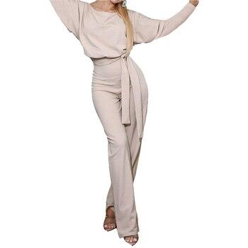 Travail bureau femmes combinaison 2019 printemps mode Sexy ensemble ample solide longue combishort à lacets ceintures combinaison barboteuses nouveau