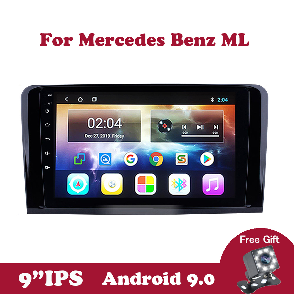 Android 9.0 IPS 2 din Car Radio For <font><b>Mercedes</b></font> Benz <font><b>ML</b></font> <font><b>W164</b></font> ML300 GL X164 GL320 <font><b>350</b></font> 420 450 500 Navigation with Steering wheel image