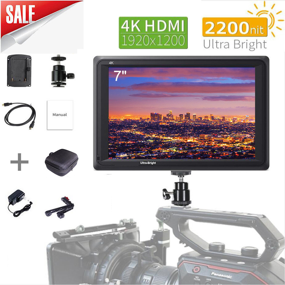 7 Inch IPS 2200nits DSLR Camera Field Monitor 4K HDMI FHD 1920x1200 LCD for Zhiyun Weebill Stablizer Shooting Video Movie