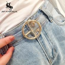 JIFANPAUL сердце леди милый прозрачный ремень Известный модный бренд джинсы платье пояс Смола большая голова сплав круглый булавка Пряжка ремни