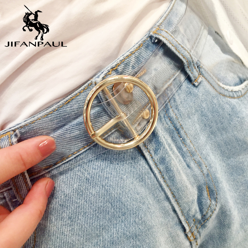 JIFANPAUL Heart Lady Cute Transparent Belt Famous Fashion Brand Jeans Dress Belt Resin Big Head Alloy Round Pin Buckle Belts
