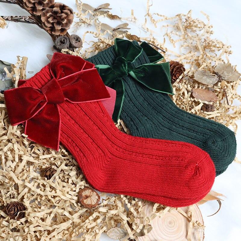 Рождественские костюмы для маленьких девочек, носки для девочек детская зимняя Сапоги до колена большой бант трикотажные утепленные шерст...