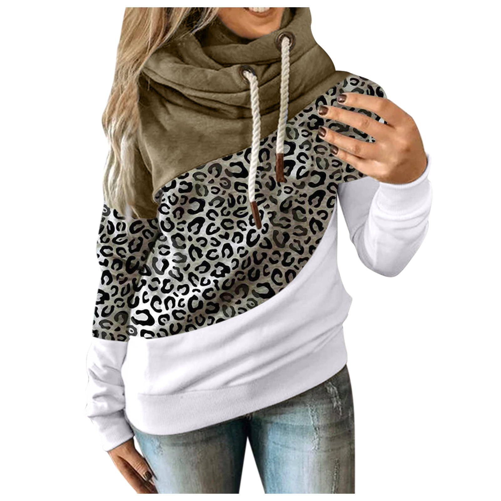 Hot Sale Women Casual Solid Contrast Long Sleeve Hoodie Sweatshirt Patchwork Printed Tops Sudaderas Mujer 2020 F Fast Ship 13