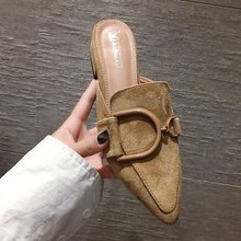 Women Flock Platform Thin Heels Concise Closed Toe Slides Pointed Mules Slip-On High Slipper Loafer Woman Super Brand