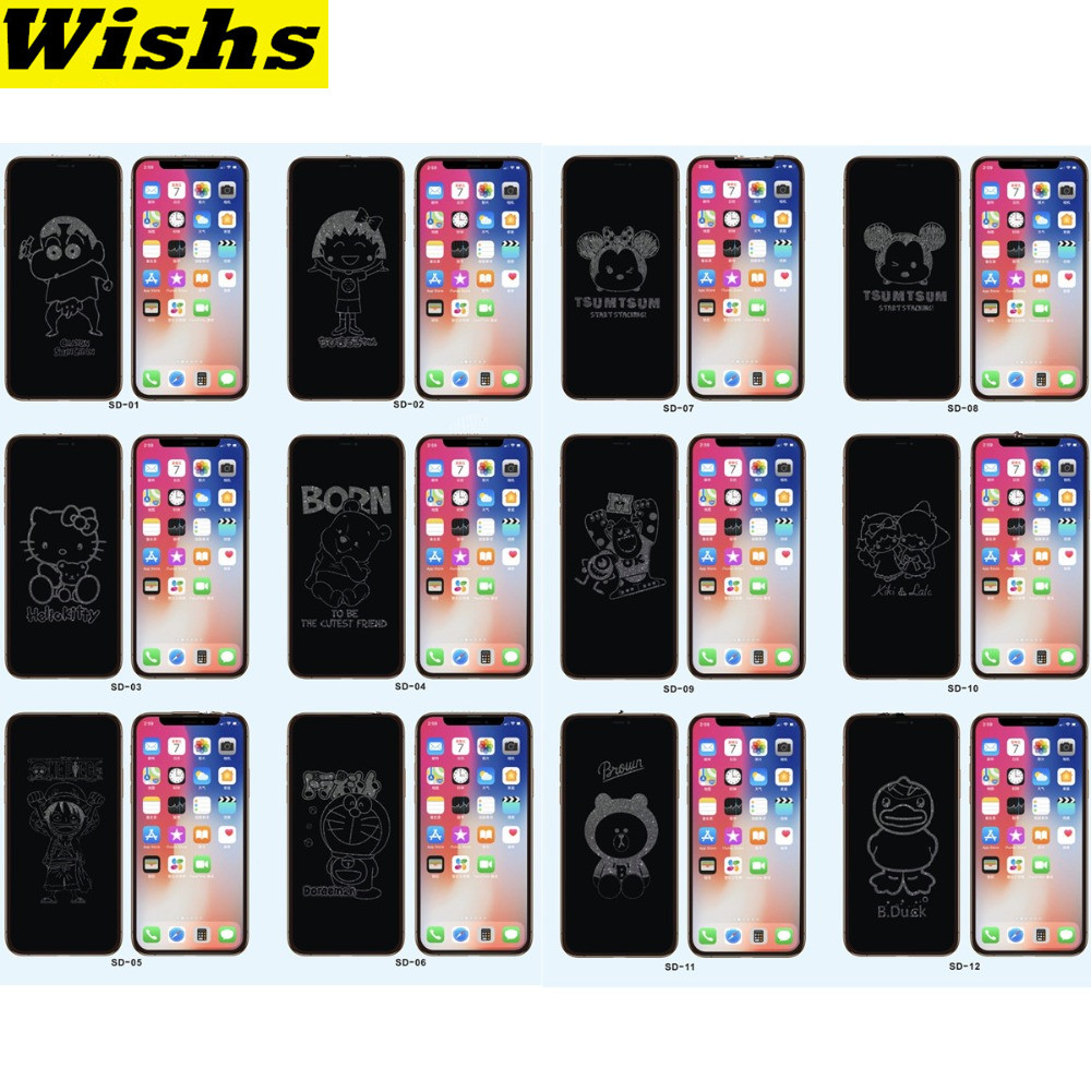 Lovely Invisible Glitter Cartoon 6D Full Screen Tempered Glass Film For IPhone 11 Pro MAX X XR Xs MAX 6 6s 7 8 Plus Front Film