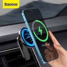 Baseus 마그네틱 자동차 전화 홀더 아이폰 12 프로 맥스 전화 홀더 자동차 에어 벤트 마운트 홀더 스탠드에 대한 빠른 무선 충전기
