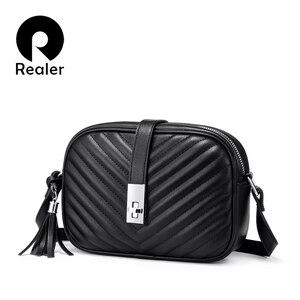 Image 1 - Mais real feminina bolsa de ombro sacos para as mulheres 2020 listrado aleta crossbody sacos feminino pequeno preto quadrado saco de couro do plutônio com borla